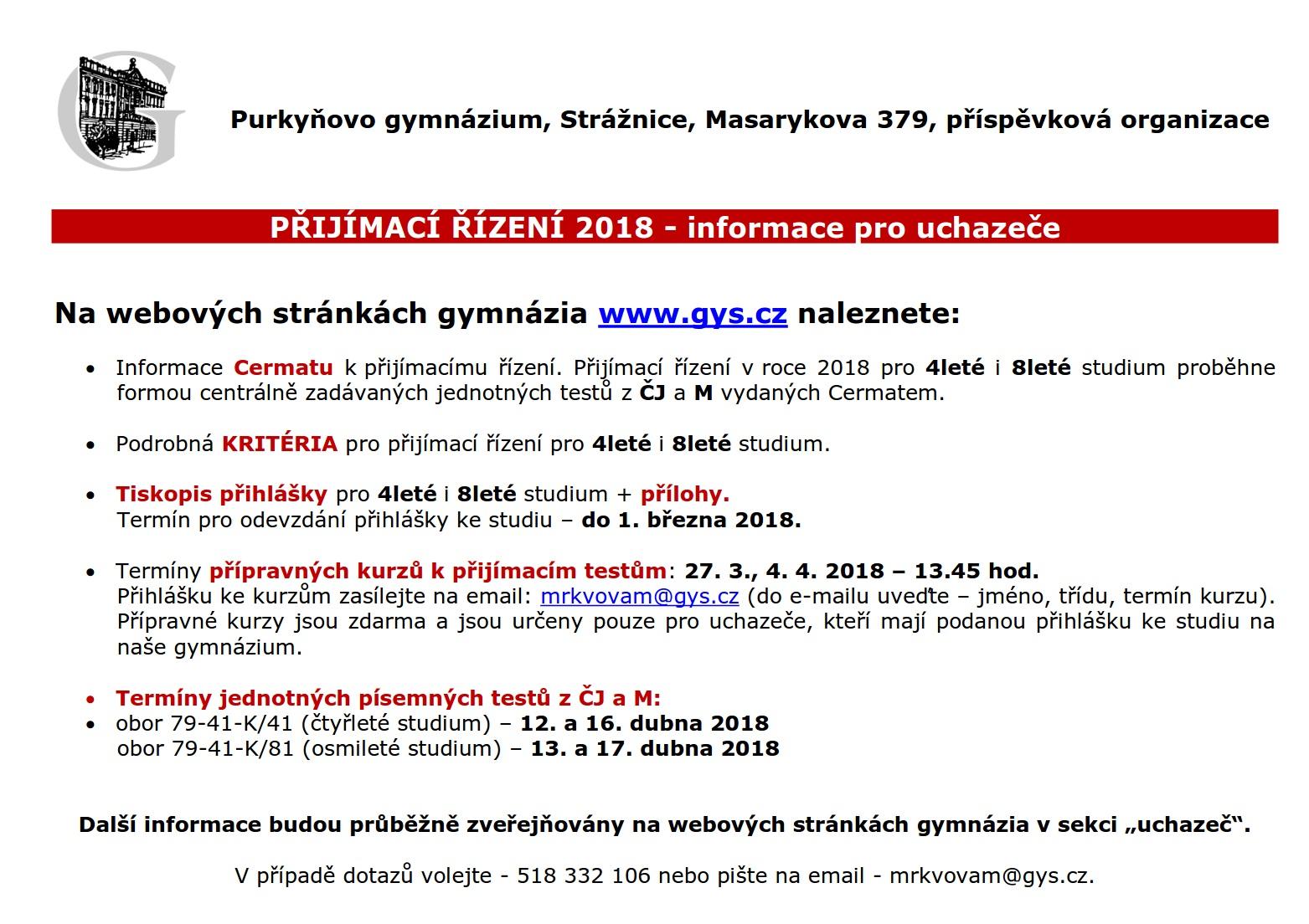 Informace pro uchazeče 2018